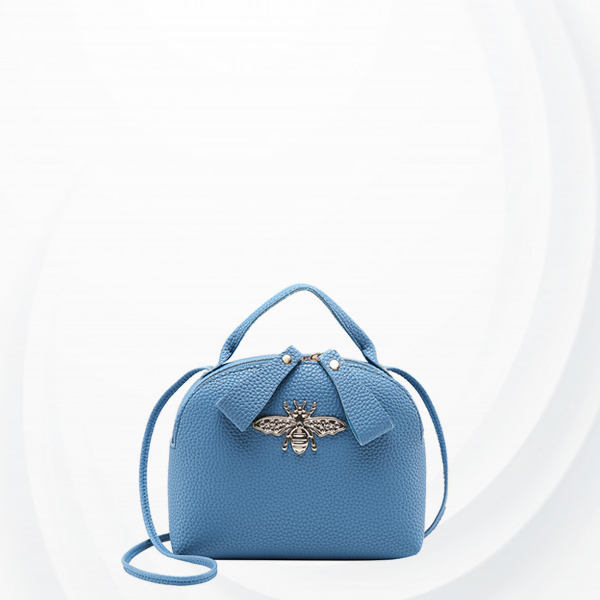 Bug Patch Synthetic Leather Zipper Shoulder Bag - Blue