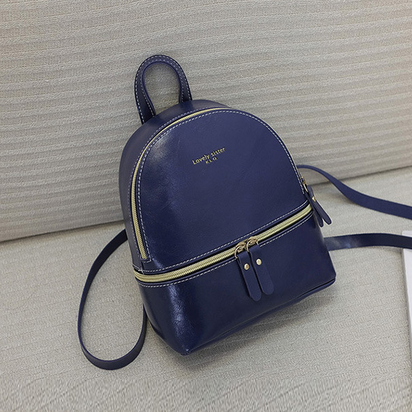Double Zipper Shiny Leather Mini Backpack - Dark Blue