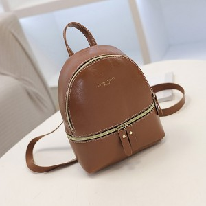 Double Zipper Shiny Leather Mini Backpack - Brown