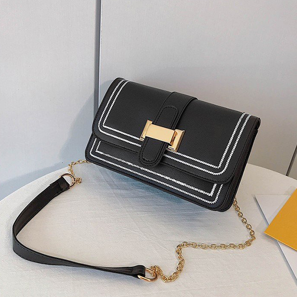 Women Fashion Chain Strapped Messenger Bags - Black