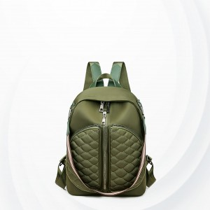 Patchwork Zipper Closure Double Strap Backpacks - Green