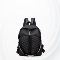 Patchwork Zipper Closure Double Strap Backpacks - Black