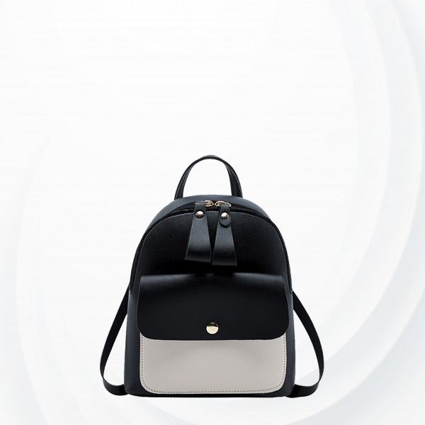 Zipper Closure Contrast Mini Backpacks - Black