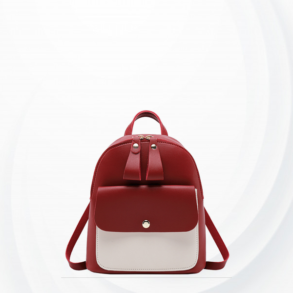 Zipper Closure Contrast Mini Backpacks - Burgundy