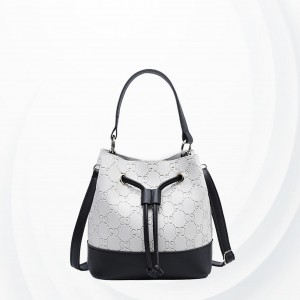 Drawstring Designers Contrast Shoulder Bag - Black