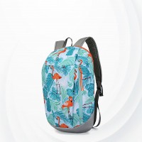 Flamingo Print Summer Casual Wide Space Backpack - Light Blue