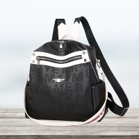 Zipper Closure Synthetic Leather Casual Backpack - Black