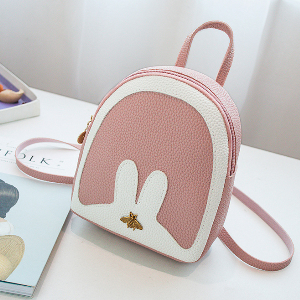 Bug Patched Contrast Rabbit Mini Backpacks - Pink