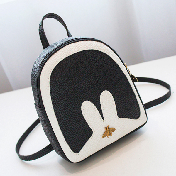 Bug Patched Contrast Rabbit Mini Backpacks - Black