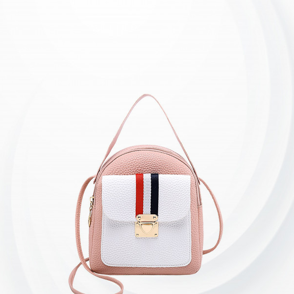Press Lock Synthetic Leather Mini Backpacks - Pink