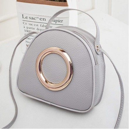 Ring Patched PU Leather Mini Messenger Bags - Grey