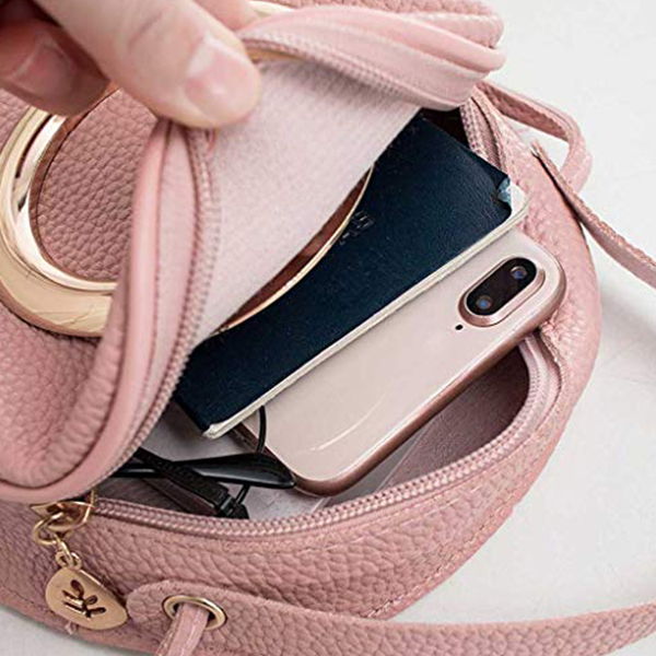 Ring Patched PU Leather Mini Messenger Bags - Pink