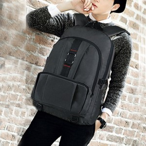 Canvas Casual Zipper Closure Traveler Backpacks - Black
