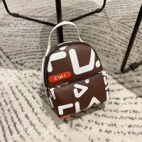 Alphabetic Prints Synthetic Leather Zipper Backpacks - Coffee