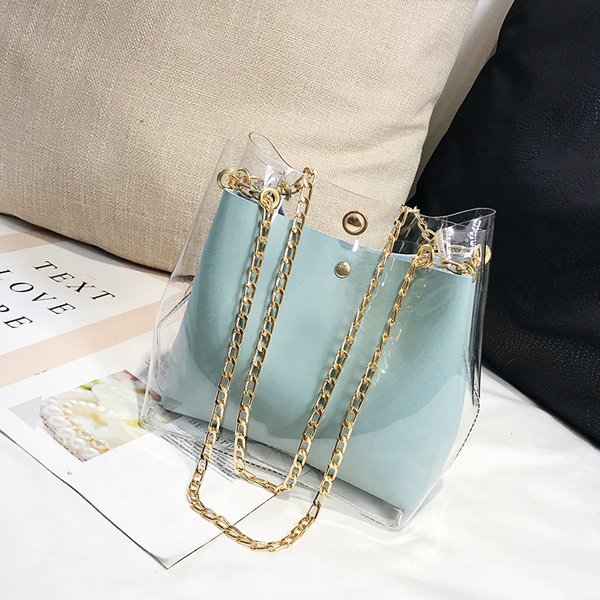 Transparent Chain Strapped Jelly Bags - Blue