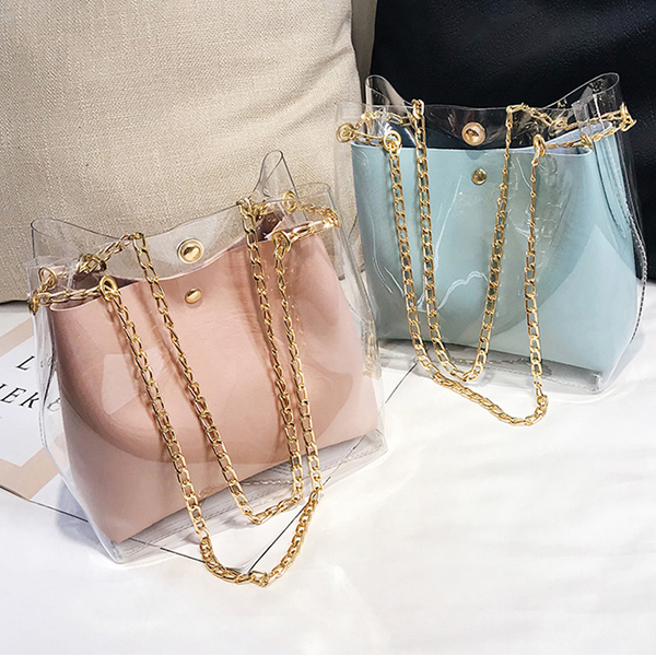 Transparent Chain Strapped Jelly Bags - Pink