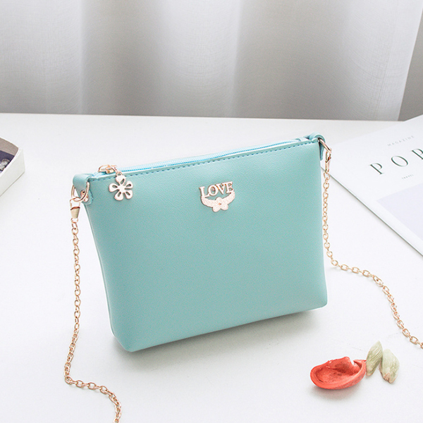 Chain Strapped Love Plain Shoulder Bags - Sea Green