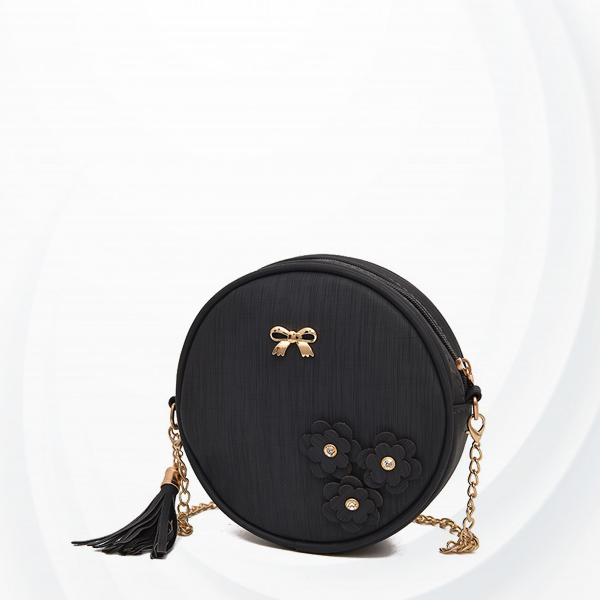 Floral Patched Tassel Round Cross Body Bags - Black
