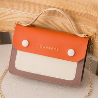 Contrast Button Up Chain Strap Messenger Bags - Orange