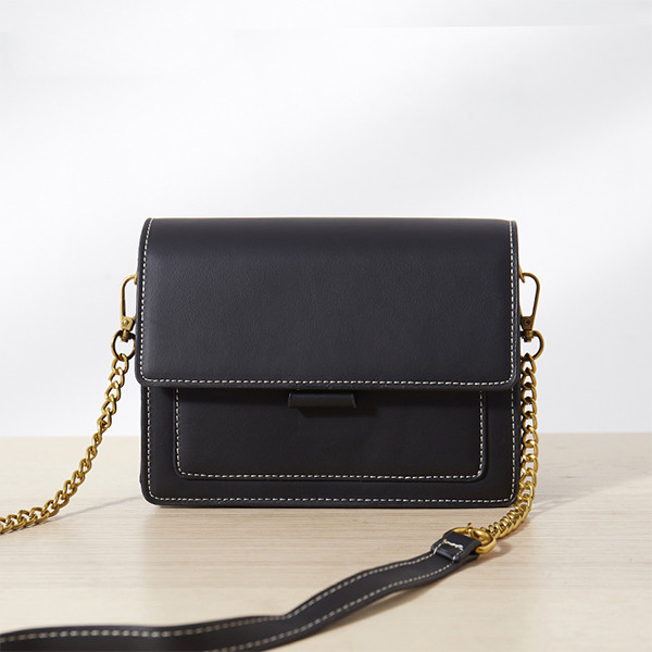 Contrast Magnetic Closure Formal Messenger Bags - Black