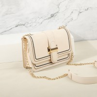 Thread Art Square Shaped Buckle Messenger Bags - White