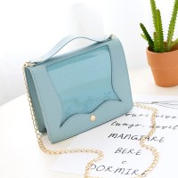 Chain Strap Glittered Jelly Flap Messenger Bags - Blue