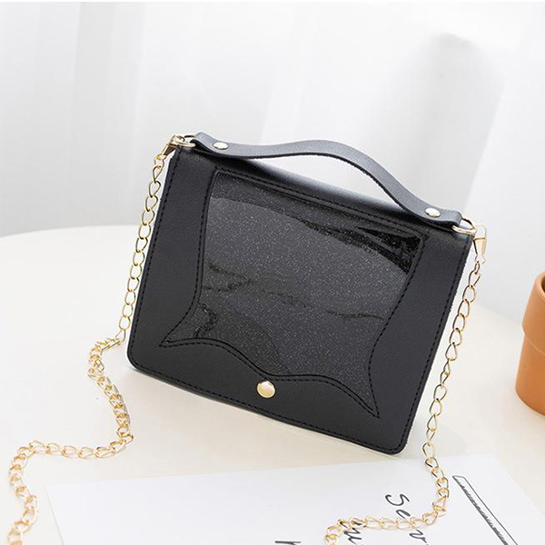 Chain Strap Glittered Jelly Flap Messenger Bags - Black
