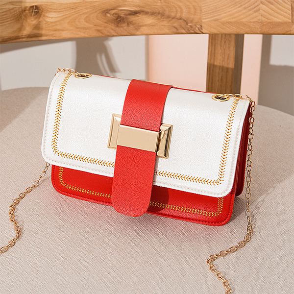 Buckle Belt Chain Strap Messenger Bags - Red