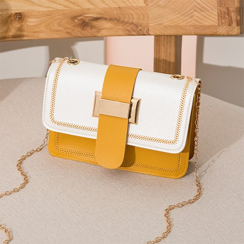 Buckle Belt Chain Strap Messenger Bags - Yellow