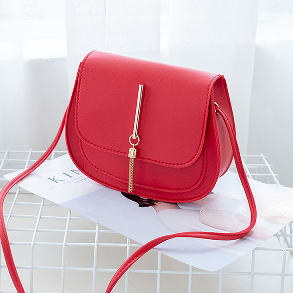 Synthetic Leather Tassel Luxury Messenger Bags - Red