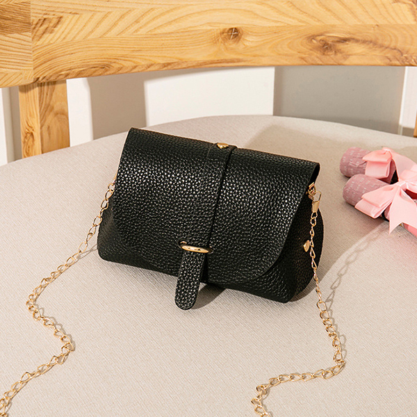 Ring Buckle Chain Strap Synthetic Leather Bags - Black