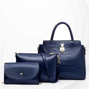 Crocodile Skin Pattern Three Pieces Handbags Set - Blue