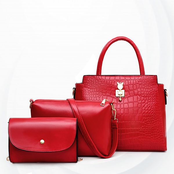 Crocodile Skin Pattern Three Pieces Handbags Set - Red