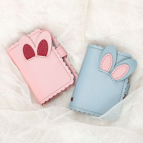 Bunny Carved Fancy Mini Pocket Card Wallet - Blue