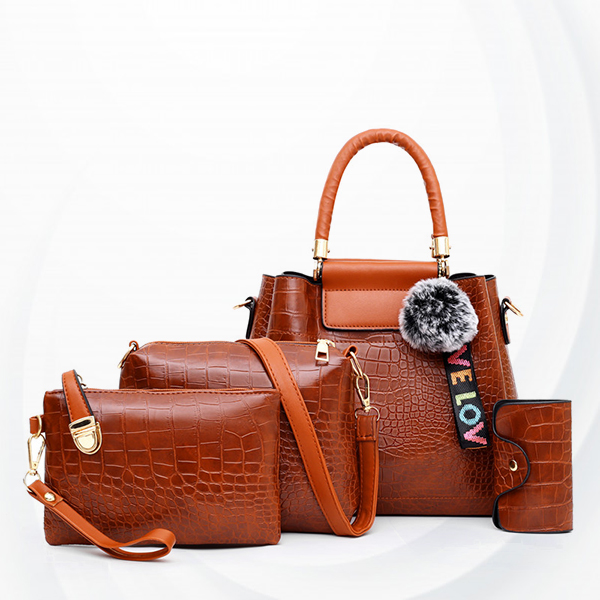Three Pieces Crocodile Skin Pattern Handbags Set - Brown