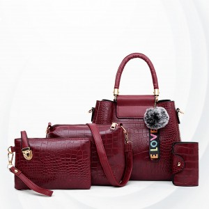 Three Pieces Crocodile Skin Pattern Handbags Set - Burgundy