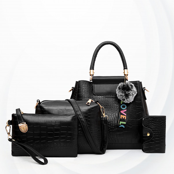 Three Pieces Crocodile Skin Pattern Handbags Set - Black