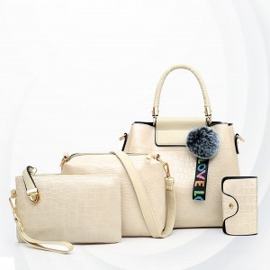 Three Pieces Crocodile Skin Pattern Handbags Set - White