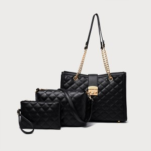 Plaid Pattern Three Piece Handbags Set - Black