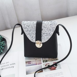 Texture Vertical PU Leather Shoulder Bags - Black