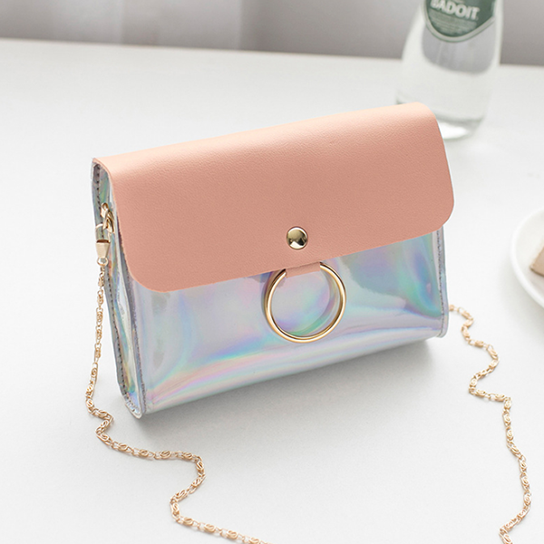 Chain Strapped Shiny Rainbow Mini Shoulder Bags