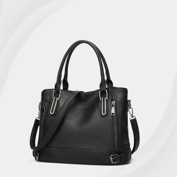 Double Zipper Synthetic Leather Shoulder Bags - Black