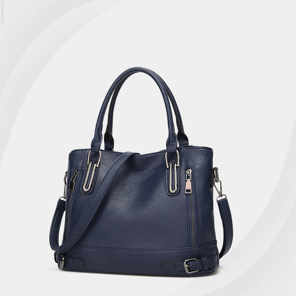 Double Zipper Synthetic Leather Shoulder Bags - Dark Blue