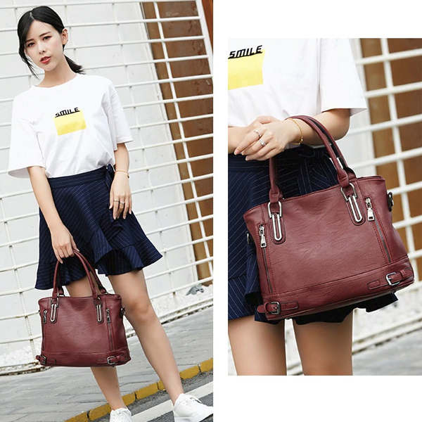 Double Zipper Synthetic Leather Shoulder Bags - Burgundy