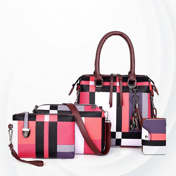 Contrast Pu Leather Soft Surface Handbags Set - Rose Red
