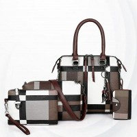 Contrast Pu Leather Soft Surface Handbags Set - Dark Brown