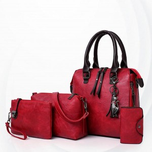 Pu Leather Totes soft Surface Women Handbag Set - Red