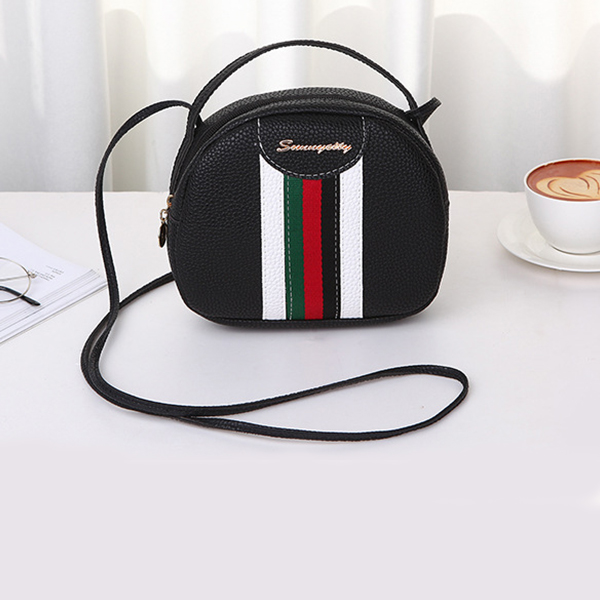 Striped Contrast Round Shaped Messenger Bags - Black