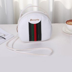 Striped Contrast Round Shaped Messenger Bags - White