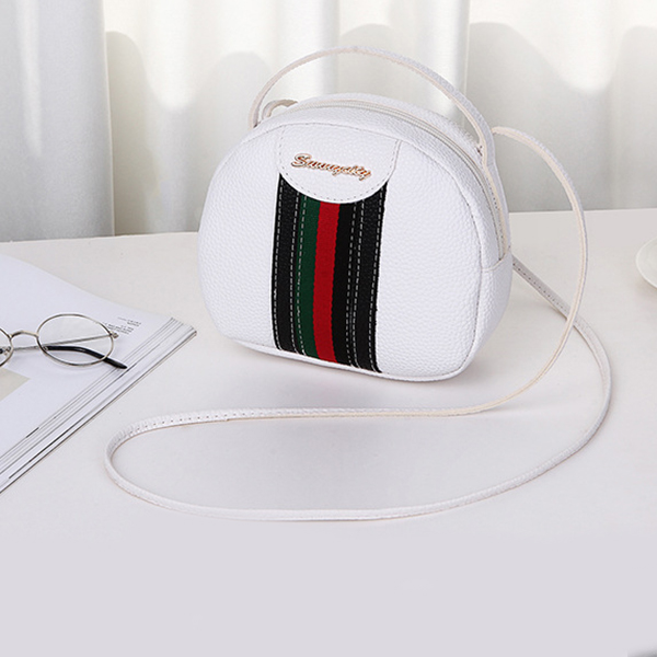 Striped Contrast Round Shaped Messenger Bags - Pink